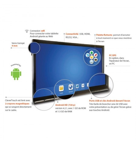 """ECRAN TACTILE ANDROID CleverTouch V 65"""""""